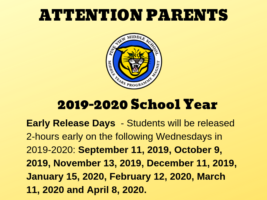 2019-2020 Early Release Days